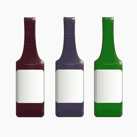 A set of realistic bottle models is ready for your design. The template template is ready for your design. Isolated on white background. Vector illustration EPS 10