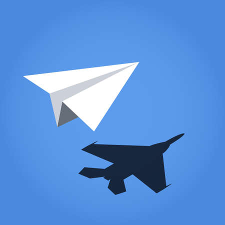 paper plane: paper plane casting shadow jet fighter