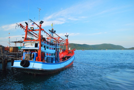 seashores: Fisher man boat at port Stock Photo