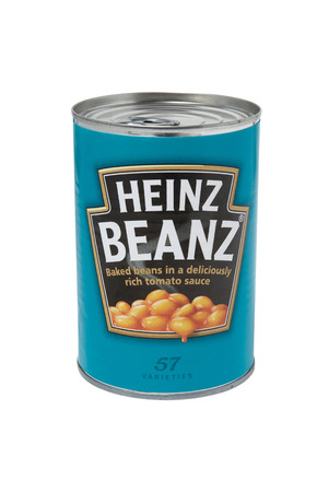 baked beans: Leeds, United Kingdom - July 5th, 2011: A 415g tin of Heinz Baked Beanz. H.J. Heinz Company sell their food products in over 200 countries worldwide. Editorial