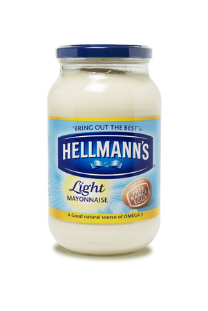 jar: Leeds, United Kingdom - July 5th, 2011: A jar of Hellmans Light Mayonnaise. Richard Hellman produced the first ready-made mayonnaise in New York City in 1905. The brand is now owned by Unilever.
