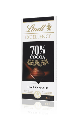 lindt: Leeds, United Kingdom - July 5th, 2011: Studio shot of 100g Lindt bar of dark chocolate.Lindt & Spr?ngli AG are Swiss makers of luxury chocolate. Editorial