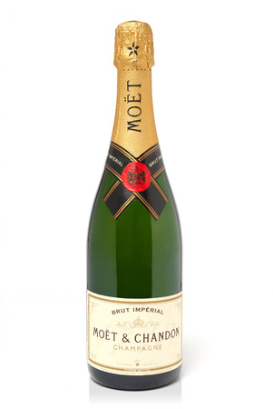 champagne bottle: Leeds, United Kingdom - July 5th, 2011: Bottle of Moet & Chandon champagne. Studio shot isolated on white Editorial