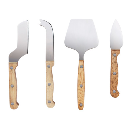 different types of cheese: Four different types of cheese knives, isolated on white with path