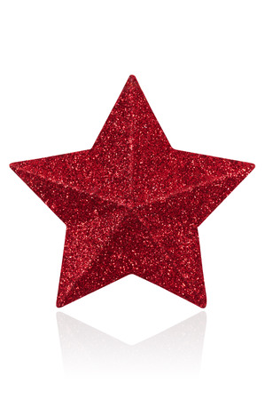 star path: Red glitter star shaped christmas decoration isolated on white with path Stock Photo