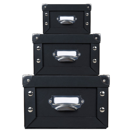 filing system: Front view of black office storage boxes stacked Stock Photo