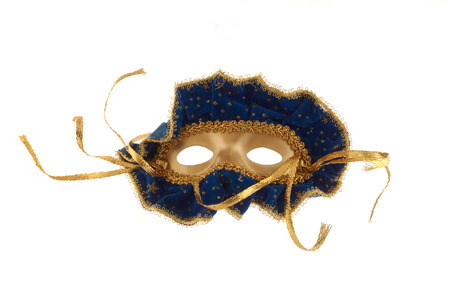 disguises: A christmas decoration in the shape of a mask. Isolated on white