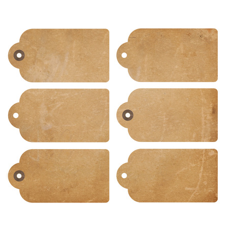 label tag: Set of six brown grunge gift tags isolated on white Stock Photo