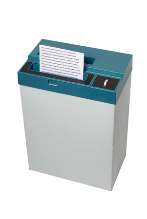 paper shredder: Old fashioned paper shredder isolated on white background