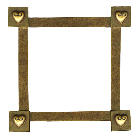 framed picture: Gold colored frame with sculptured hearts in corners, isolated on white with paths.