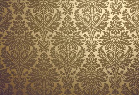 patterned: Gold floral design retro wallpaper
