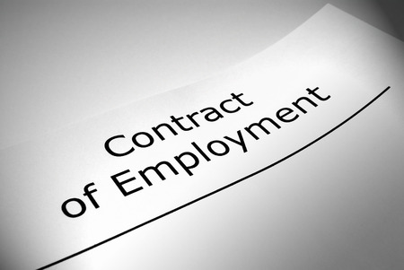 title page: Close up of Contract of Employment title page Stock Photo