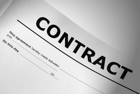 lawful: Closeup of contract title page