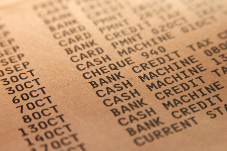 bank statement: Closeup of a printed bank statement