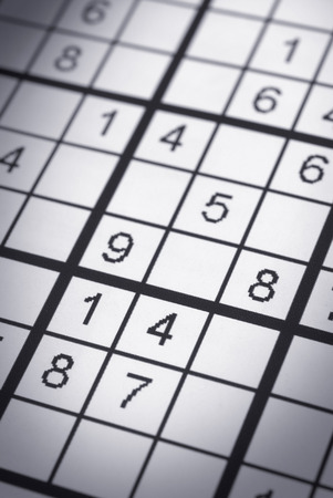 sudoku: Macro closeup of an unfinished sudoku puzzle Stock Photo