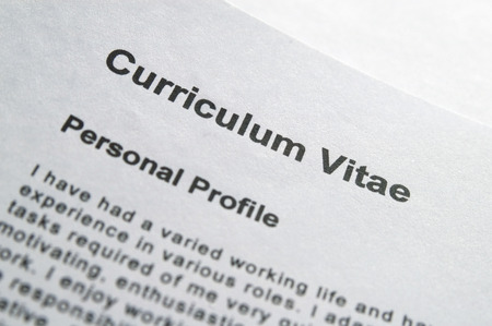 title page: Closeup of curriculum Vitae title page