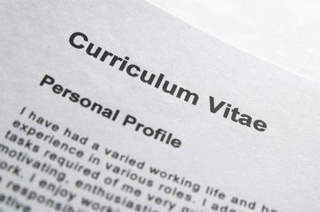title page: Primer plano de curriculum vitae portada Foto de archivo
