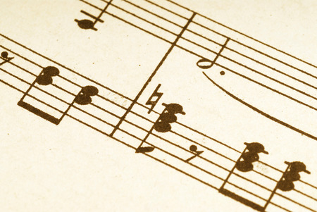 printed: Close up of old sheet music printed manuscript. Narrow depth of focus