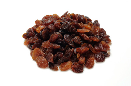 sultanas: Pile of sultanas isolated on white Stock Photo