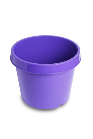 plant pot: Purple plastic plant pot isolated on white Stock Photo