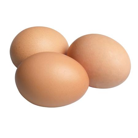 free range: Three free range hens eggs isolated on white