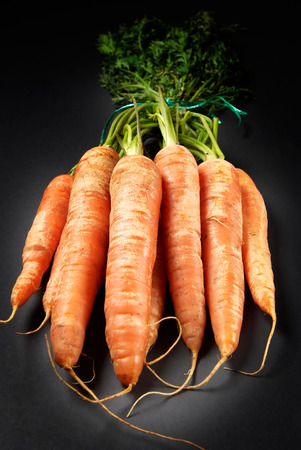 bunched: A bunch of organic carrots on dark  Stock Photo