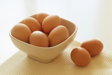 gallina con huevos: A bowl full of fresh hen eggs