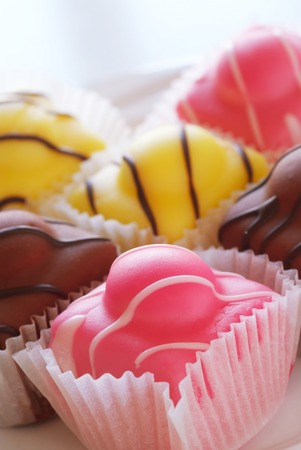 fancy cakes: Close up of a selection of french fancy cakes