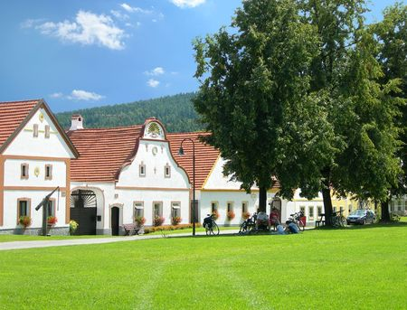 czech culture: Old country houses from the village Holasovice, South Bohemia, Czech Republic - 18-th century Stock Photo