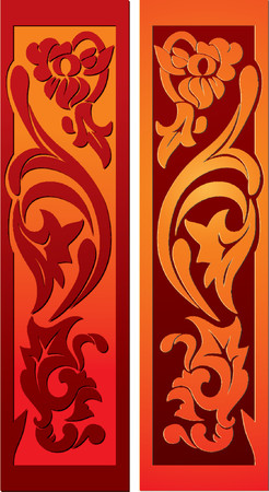 simplified: Decoration - stylized floral elements. Looks like old wood carving.