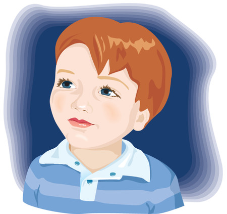 blue hair: Kid, child, adorable little boy with brown hair and blue eyes. Vector illustration Illustration