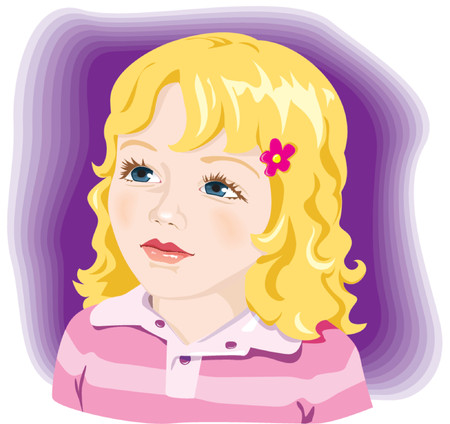fascinated: Kid, child, adorable little girl with blond hair and blue eyes. Vector illustration