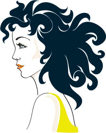 hairdress: Beautiful Glamorous Womans portrait. Color vector illustration
