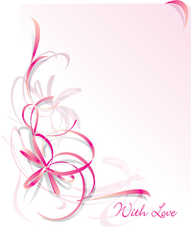 ecard: Abstract bow Greeting Card - St Valentines Day. Pink background. Space for text Illustration