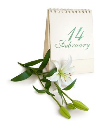 St. Valentines setting - Calendar and flowers - white lilium. Tender white and green colors. Isolated on white Stock Photo