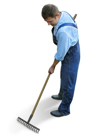 Gardener - worker in working clothes, raking, watering  the garden, carrying box. Isolated on white, clipping path, shadow