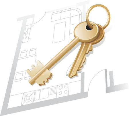 obtain: House keys on a home blueprint. Vector illustration