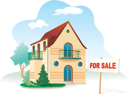 Family house, sign For sale. Realty. Vector illustration