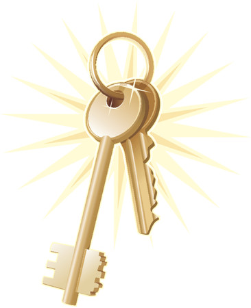 vendors: Gold home keys, realty,security. Vector illustration