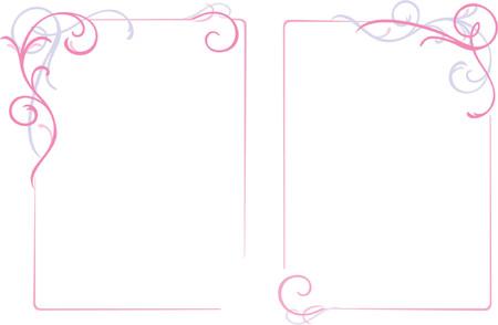 ecard: Abstract ornamenti floreali telaio, di confine, decorazione, rosa, illustrazione vettoriale