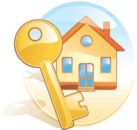 obtain: Key, new home, realty. Stylized aqua style vector icon