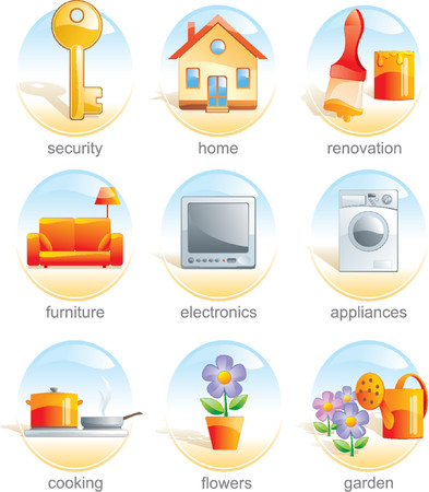 Icon set - home, security, renovation, furniture, electronics, appliances, cooking, flowers, gardens. Aqua style. Vector illustration Illustration