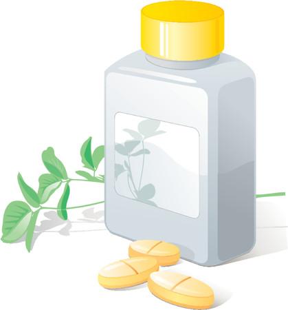 Herbal pills, flack. Medical, health. Vector illustration Illustration