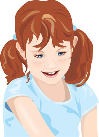 fascinated: Kid, child, adorable little girl, dark hair, blue eyes, smile. Vector illustration Illustration