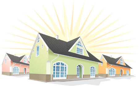 obtain: Residential area, Houses, real estate for sale. Vector illustration