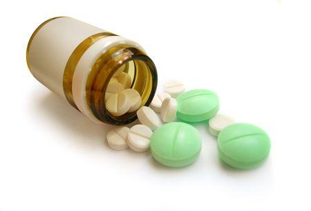 flack: Pills, flack. Healthcare, medical, pharmaceutical. Isolated on white