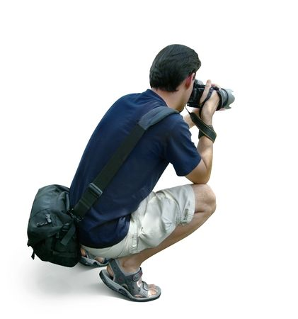 Professional photographer taking photos - work, hobby. Isolated