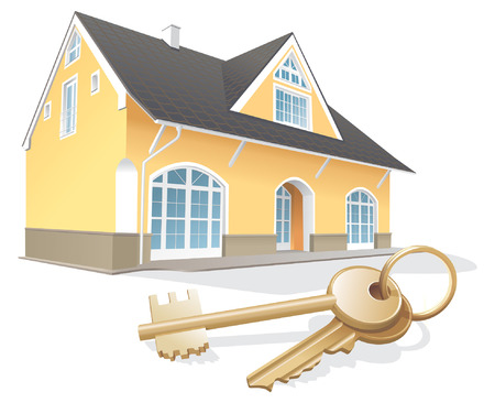 obtain: House keys, real estate, realty, security. Vector illustration