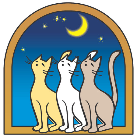Three cats by the window, moon, stars. Artistic vector illustration Illustration