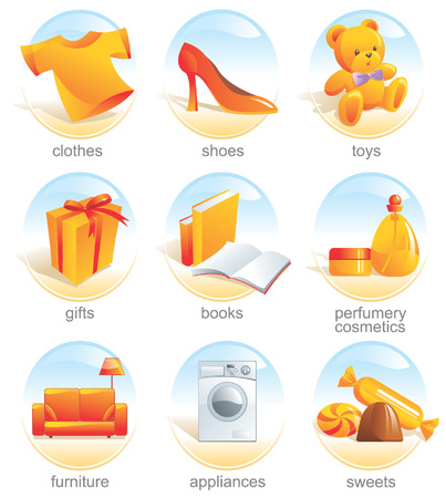 Icon set - shopping, clothes, shoes, toys, gifts, presents, books, stationery, perfumery, cosmetics, furniture, appliances, sweets. Aqua style. Vector illustration